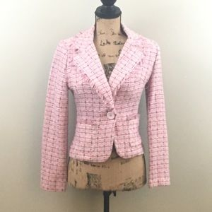 Pink Checkered Tweed Blazer Size Small